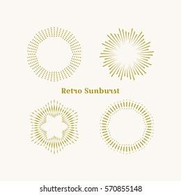 Sunburst frames set. Retro gold Sun burst shape. Vintage explosion logo, label, badge. Firework design element. Old light rays radiating from a center. Retro, vintage, hipster style starburst
