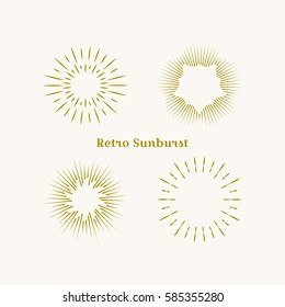 Sunburst frames set. Retro gold Sun burst shape. Vintage explosion logo, label, badge. Firework design element. Old light rays radiating from a center. Retro, vintage, hipster starburst