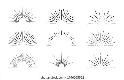 Sunburst icon. Sun burst with lines. Retro logo of half circle with radial rays. Graphic burst of sunshine light. Starburst with sunrise. Vintage elements and sparks for abstract design. Vector.