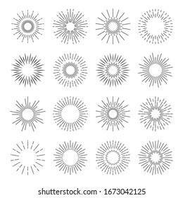 Sunburst icons. Starburst spark blast logo. Vector sun burst rays. Sunshine explosion badge set.