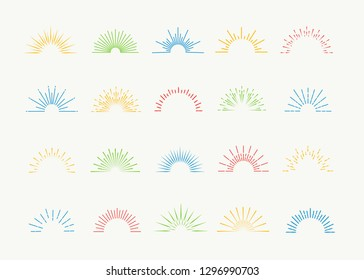 Sunburst icons vector set colorful style isolated on white background for logotype, tag, stamp, t shirt, banner, emblem. 10 eps