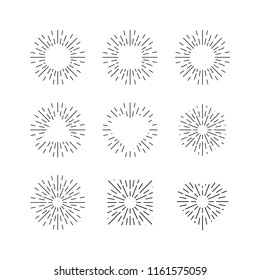 Sunburst ink vector set. Vintage and hipster sun rays frames collection.
