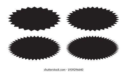 Sunburst label collection, set of oval starburst badges, abstract background - Vector
