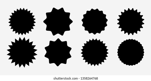 Sunburst label icons. Promo sale starburst sticker. Vector set of black star price tag. Vector illustration EPS10