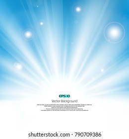 Sunburst light with flare on clean blue sky background with text space, flying banner illustration vector eps10
