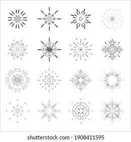 サンバーストラインアートの太陽の放射アイコンデザインテンプレートセットベクターイラスト