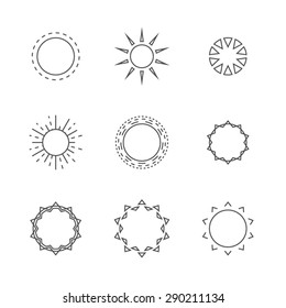 Sunburst logo vector set
