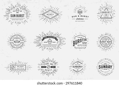 Sunburst on Starburst Element Set for Logo Creating or using as Icon