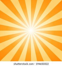 sunburst, orange light ray, vector and illustration background.