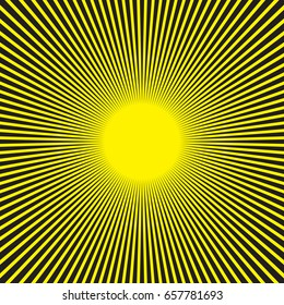 Sunburst radial pattern in black and yellow