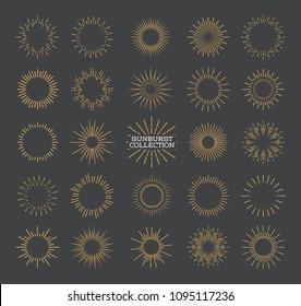 Sunburst set gold style isolated on gray background for logotype, emblem, logo, tag, stamp, t shirt, banner. Firework explosion, star. Vector Illustration 10 eps