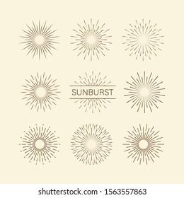 Sunburst set gold style isolated on background for logotype, emblem, logo, tag. Firework explosion, star. Vector stock illustration.
