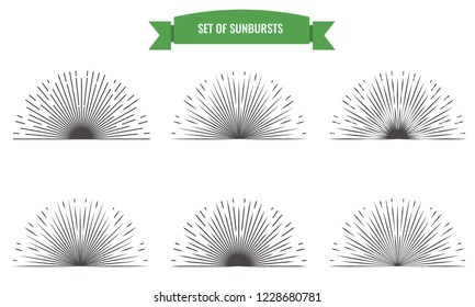 Sunburst set. Golden style isolated for your design. Vector Illustration