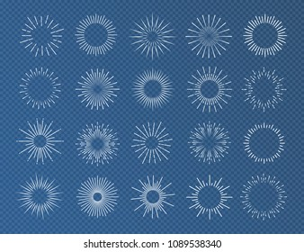 Sunburst set white color isolated on transparent background for decoration, logo, emblem, tag, badge. Star, firework explosion, rays of light collection. Vector Illustration 10 eps