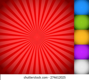 Sunburst, starburst background set, colorful rays, beams. Blue, green, yellow, purple and white versions.
