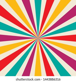 Sunburst striped background design vector in purple red blue yellow and white colors, vibrant cheerful and bright retro design in the groovy hippy 60s style illustration