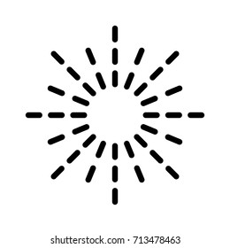 Sunburst / sun burst or sunlight line art vector icon for apps and websites