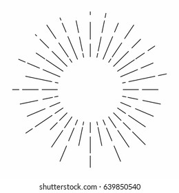 Sunburst. Sunshine rays in vintage style. Light rays, radial sunbeam decoration. Vector