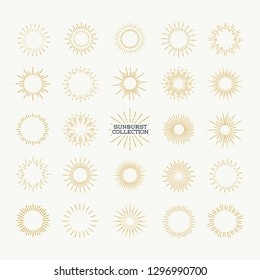 Sunburst vector set gold style isolated on background for logotype, emblem, logo, tag, stamp, t shirt, banner. Firework explosion, star. 10 eps