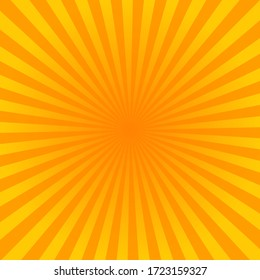 Sunburst yellow vector background, texture sun flat backdrop.