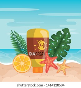 suncream with orange fruit and starfishes with leaves
