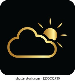 sund and cloud golden icon for web and print