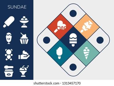 sundae icon set. 13 filled sundae icons.  Collection Of - Ice cream, Gummy bear, Cream, Sundae