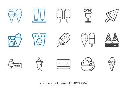 sundae icons set. Collection of sundae with ice cream, cream. Editable and scalable sundae icons.