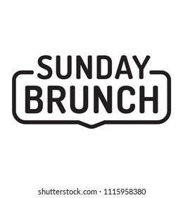 Sunday brunch. Badge icon. Flat vector illustration on white background.