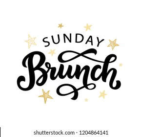 Sunday Brunch calligraphy vector logo badge, invitation logotype. Hand written modern lettering for menu, invitation, social media. Vintage retro style.