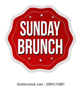 Sunday brunch label or sticker on white background, vector illustration