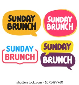 Sunday brunch. Set of hand drawn badges, icons. Vector illustrations on white background.