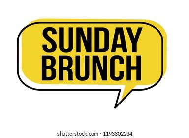 Sunday brunch speech bubble on white background, vector illustration