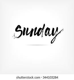 Sunday. Hand written brush typography. Isolated calligraphy design element
