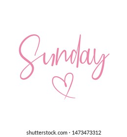Sunday text with heart background illustration / vector design for t shirt, graphics, prints, posters, stickers and other uses - Shutterstock ID 1473473312