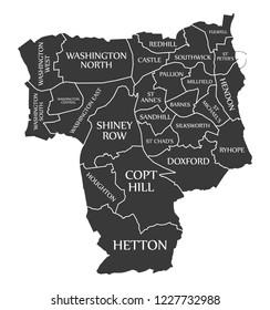 Sunderland City Map England UK labelled black illustration