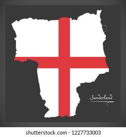 Sunderland City map with English national flag illustration