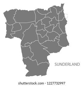 Sunderland city map with wards grey illustration silhouette shape