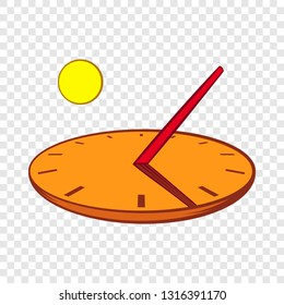 Sundial icon in cartoon style on a background for any web design