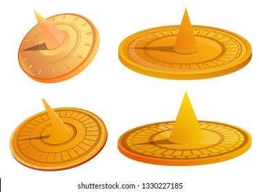 Sundial icons set. Cartoon set of sundial vector icons for web design