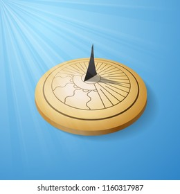 SUndial isometric object isolated on blue background with light rays