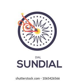 Sundial vector illustration symbol object. Flat icon style concept design