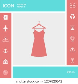 Sundress, Evening dress, combination or nightie on the wardrobe hanger , the silhouette. Menu item in the web design