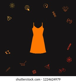 Sundress, Evening dress, combination or nightie, the silhouette. Menu item in the web design