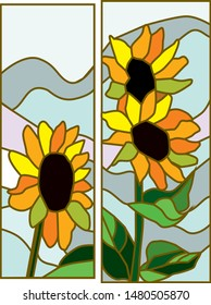Sunflover's vector for stained glass. beautiful flovers for windows of your house