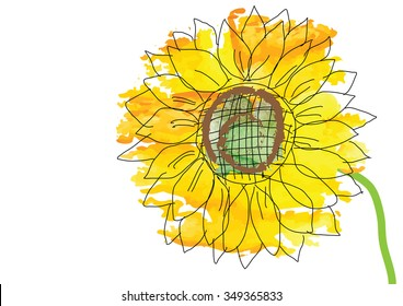 Sunflower abstract background or object,vector watercolor brush design ,vector illustration