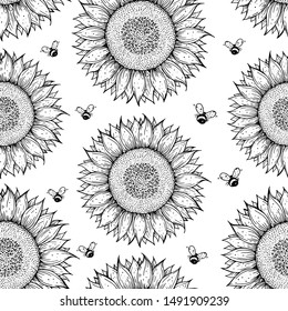 Sunflower and bee seamless pattern. Hand drawn background.Sketch vector illustration. Cute design with sunflower.