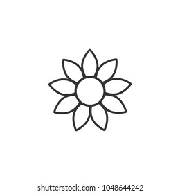 Sunflower with big petals contour icon. Flat natural symbol isolated on white. Sun flower logo. Vector illustration. Black and white. Thick outline. Summer sign.