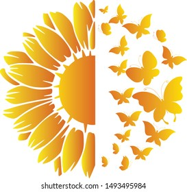 sunflower and butterflies design good for printing