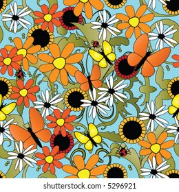 sunflower and butterflies seamless repeating pattern